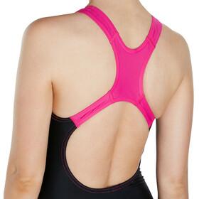 speedo Gala Logo Medalist Swimsuit Women, black/electric pink